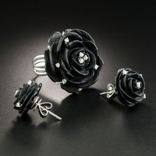 Carved Black Onyx and Diamond Flower Ring and Earrings - 1