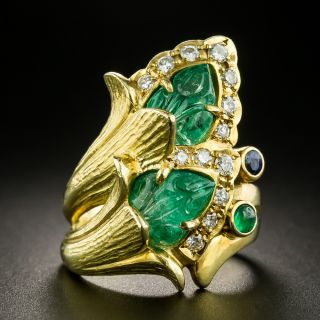 Carved Emerald Diamond Double Flower Ring - 1