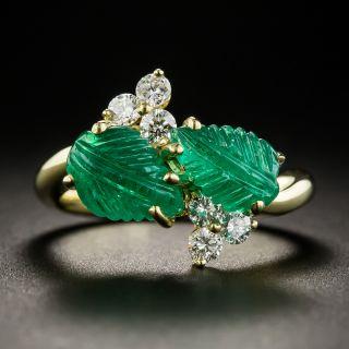 Carved Emerald Diamond Ring - 1