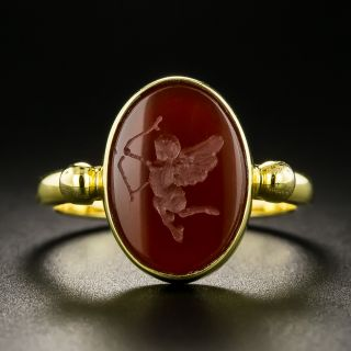 Carved Eros Carnelian Ring - 2