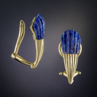Carved Fluted Lapis Lazuli Earrings