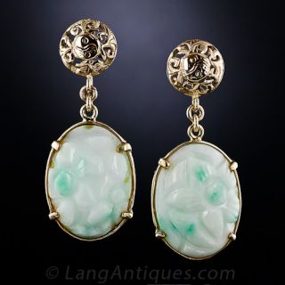 Carved Jade and 14K Yellow Gold Drop Earrings