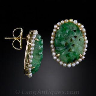 Carved Jade and Seed Pearl Earrings