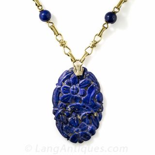 Carved Lapis Necklace