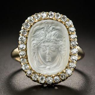 Carved Medusa Moonstone Diamond Ring - 1