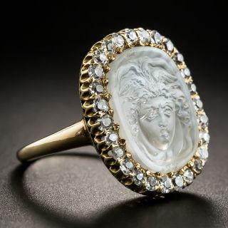 Carved Medusa Moonstone Diamond Ring