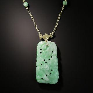 Carved Natural Burmese Jade Plaque Pendant Necklace