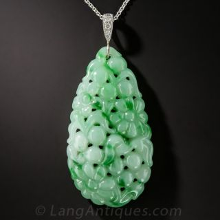 Carved Natural Jade Pendant - 1