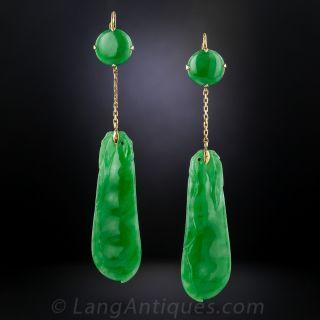 Carved Natural Jadeite Drop Earrings