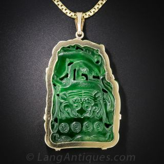 Carved Natural Jadeite Pendant