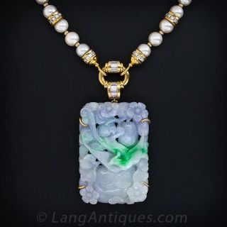 Carved Natural Lavender and Green Jade, Pearl and Diamond Necklace - 1