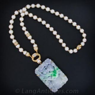 Carved Natural Lavender and Green Jade, Pearl and Diamond Necklace