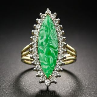 Carved Navette-Shape Jade and Diamond Ring