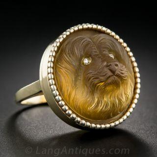 Carved Quartz Dog Ring