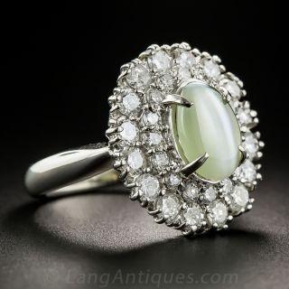 Cat's-Eye Platinum and Diamond Cocktail Ring