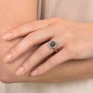 Cat's Eye Sillimanite and Diamond Halo Ring