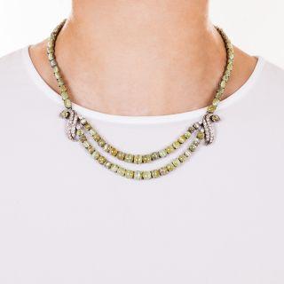 Cats-Eye Chrysoberyl Necklace and Bracelets Suite