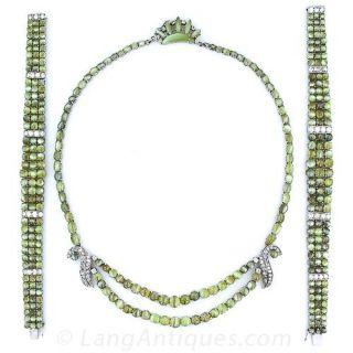 Cats-Eye Chrysoberyl Necklace and Bracelets Suite - 1