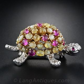 Chrysoberyl and Ruby Turtle Pin