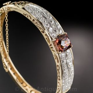 Cinnamon Zircon and Diamond Bangle Bracelet - 1