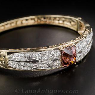 Cinnamon Zircon and Diamond Bangle Bracelet