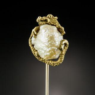 Circa 1900 Dragon Pearl Stick Pin by Walton & Co. - 2
