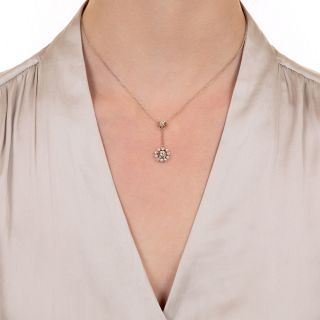 Circa 1920's Diamond and Seed Pearl Drop Necklace