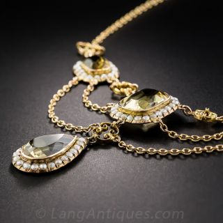 Citrine and Seed Pearl Festoon Necklace