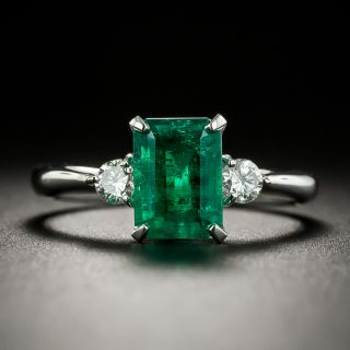 Classic 1.30 Carat Colombian Emerald and Diamond Ring  - 1