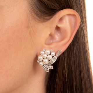 Classic Cultured Pearl and Diamond Clip Earrings