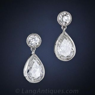 Classic Pear Shaped Diamond Drop Earrings