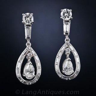 Classic Platinum Diamond Drop Earrings