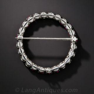 Classic Ruby and Diamond Circle Pin
