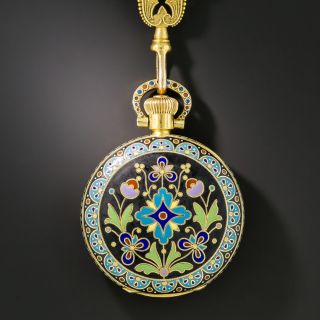 Cloisonné Enamel Pocket Watch and Chatelaine by Braverman & Levy of San Francisco
