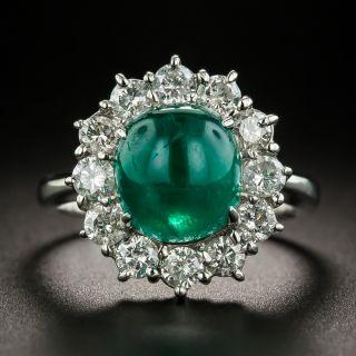 Cabochon Emerald Platinum Diamond Halo Ring - 1