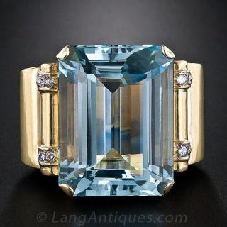 Colossal Retro Aquamarine Ring