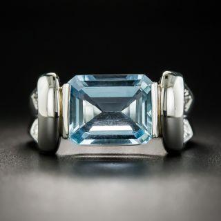 Contemporary 2.85 Carat Aquamarine and Diamond Ring - 1