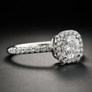 Contemporary .72 Carat 'D' color Cushion-Cut Diamond Engagement Ring