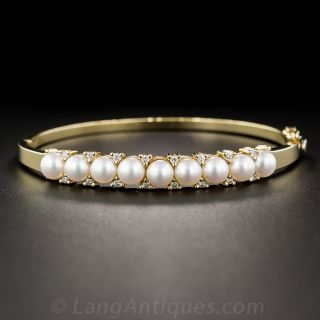 Contemporary Cultured Pearl and Diamond Bangle Bracelet
