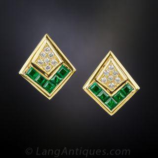 Contemporary Emerald and Diamond Chevron Earrings