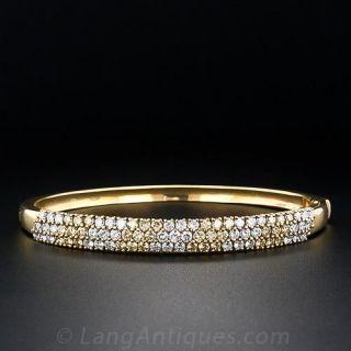 Contemporary Fancy Yellow and White Diamond Bangle