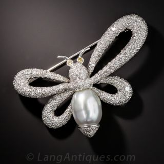 Contemporary Pearl and Diamond Butterfly Brooch