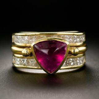 Contemporary Pink Tourmaline and Diamond Ring - 1