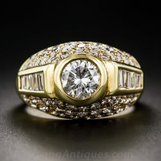Contemporary Round and Baguette-cut Diamond Ring