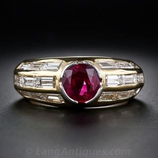 Contemporary Ruby and Diamond Ring