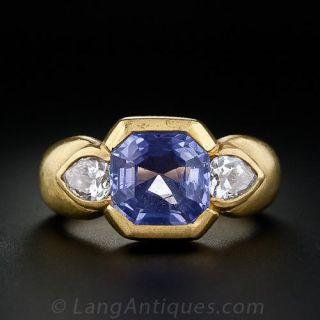 Contemporary Sapphire and Diamond Ring