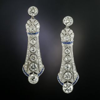 Convertible Art Deco Diamond and Calibre Sapphire Drop Earrings - 2
