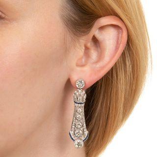 Convertible Art Deco Diamond and Calibre Sapphire Drop Earrings