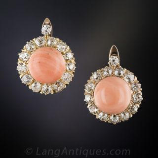 Coral and Diamond Cluster Earrings - 1