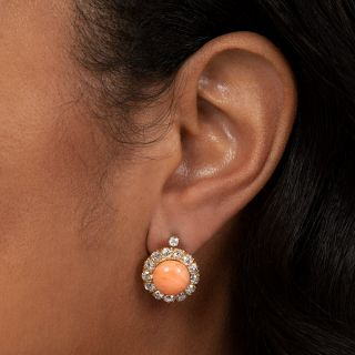 Coral and Diamond Cluster Earrings